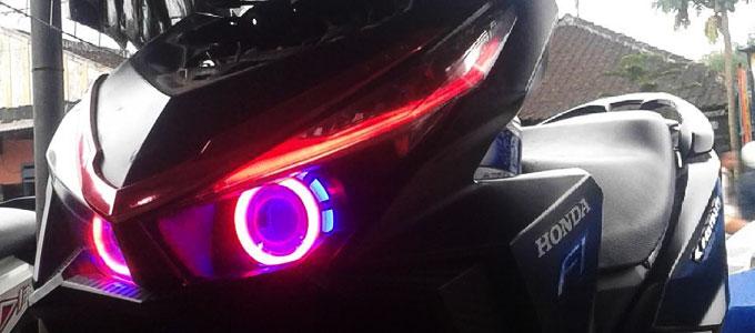 Lampu, LED, sepeda, motor, teknologi, HID, harga, cahaya, daya, aki, angle eye, devil eye, warna, hasil, fungsi, kendaraan, efisien